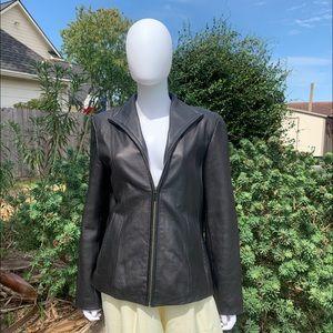 Nine West Butter Soft Leather Zip-Up Brown Jacket